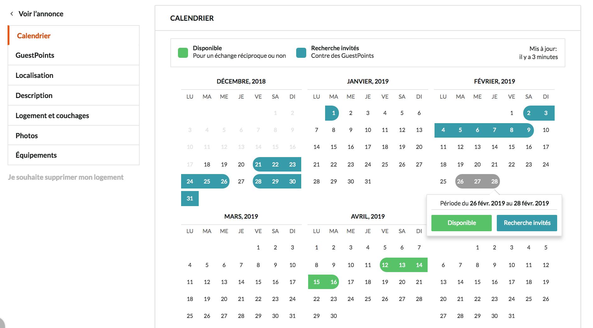 echange de maison calendrier pour indiquer disponibilités HomeExchange